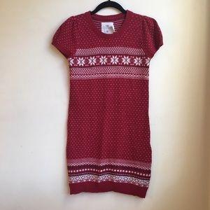 H&M Short Sleeve Red Fair Isle Knit Sweater Dress